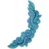 Motif Sequin/beaded 34.6x13.5cm Aqua